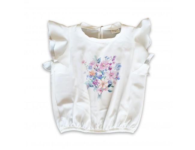 Официална блузка с нежни цветя