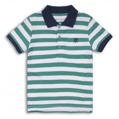 Minoti Тениска с яка на райе зелена