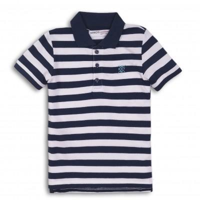Minoti Тениска с яка на райе синя