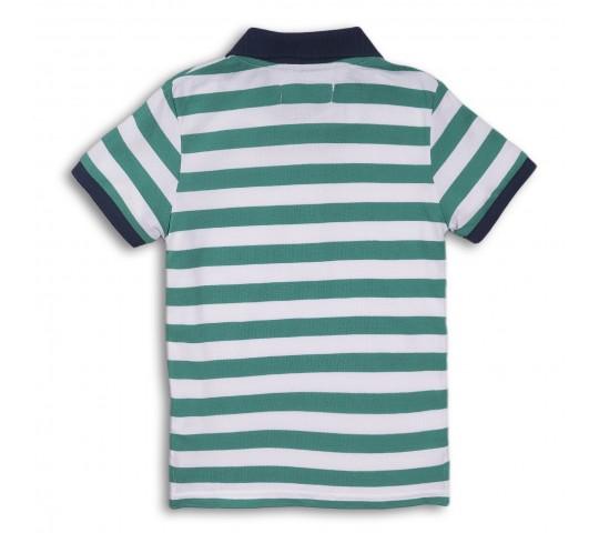 Minoti Тениска с якичка на райе зелена