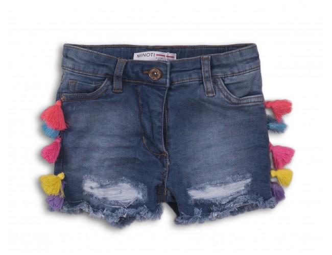 Къси дънкови панталонки за момиче с цветни понпони