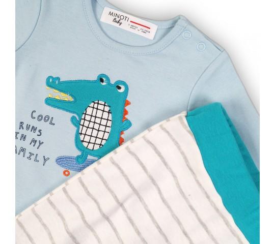 Бебешки комплект с блузка и панталонки с крокодил