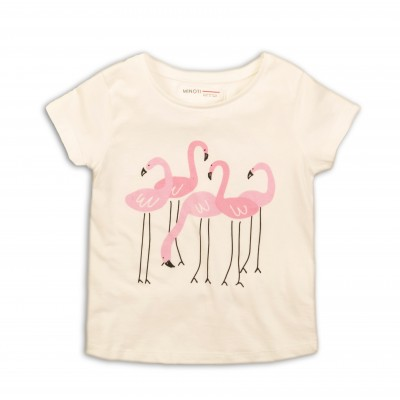 Minoti Тениска бяла с фламинго