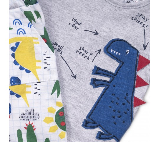 Бебешки комплект с тениска и панталонки с динозавър