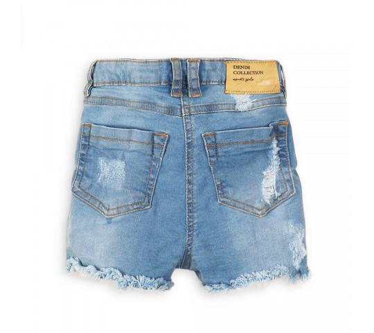 Къси дънкови панталонки за момиче с висока талия