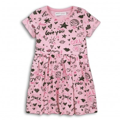 Minoti Трикотажна рокля с къси ръкави розова