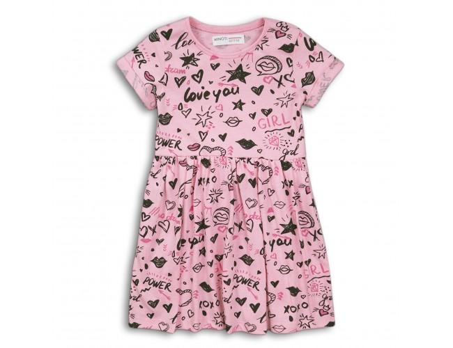 Кокетна рокличка с къси ръкави розова