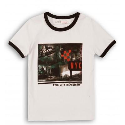 Minoti Тениска бяла с модерен принт