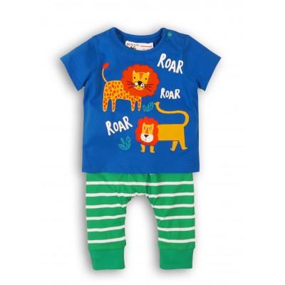 Minoti Синя тениска и зелени панталонки райе