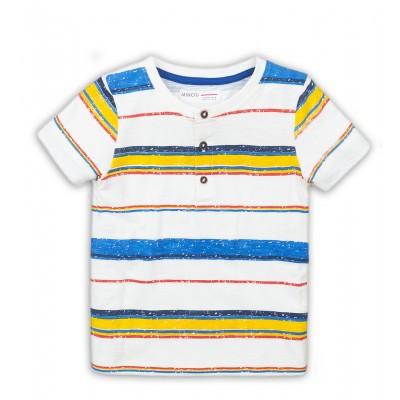 Minoti Бяла тениска със сини и жълти раета