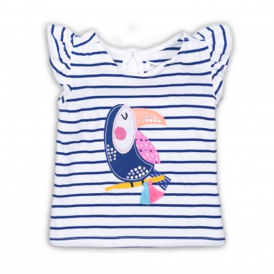 Minoti Блузка с къси ръкави на райе с пеликан