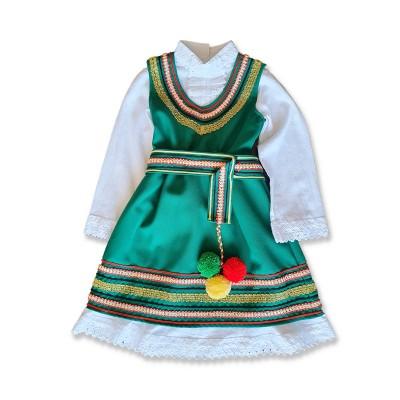 Детска народна носия за момиче зелена
