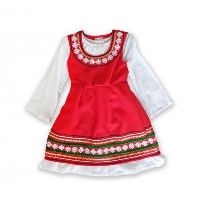 Детска народна носия за момиче червена