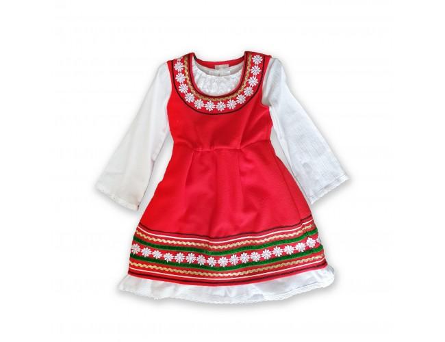 Народна носия за момиче червена