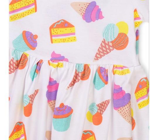 Кокетна рокличка с къси ръкави на сладоледи