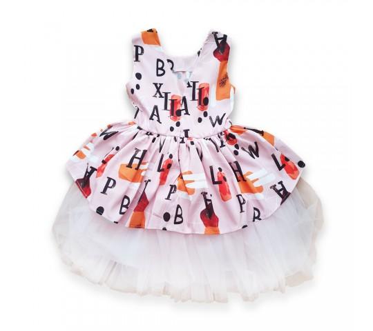 Официална рокличка с букви с панделка