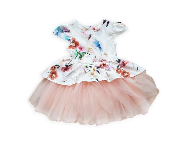 Официална рокличка с цветя с панделка
